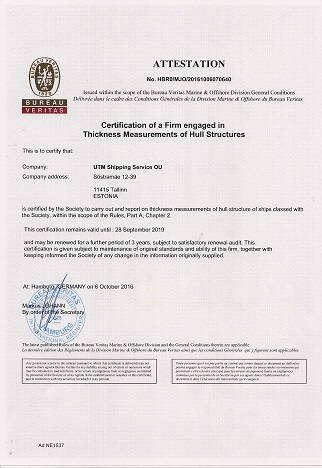 About us - UTM Shipping Service OÜ (Certification, Services